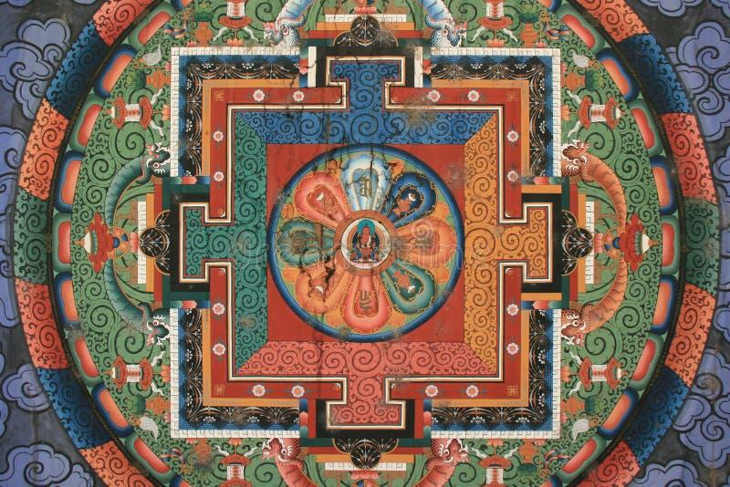 Мандала была покрашена на потолке строба буддийского виска в Тхимпху (Бутан) стоковая фотография rf