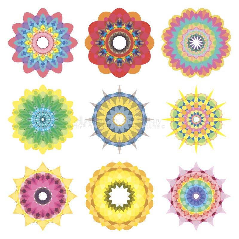 мандала 9 векторов установленная красочная на белой предпосылке стоковая фотография rf