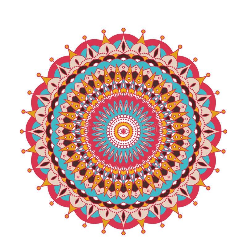 Мандала декоративного арабского круглого шнурка богато украшенная Винтажная картина вектора для печати или веб-дизайна Абстрактно иллюстрация вектора