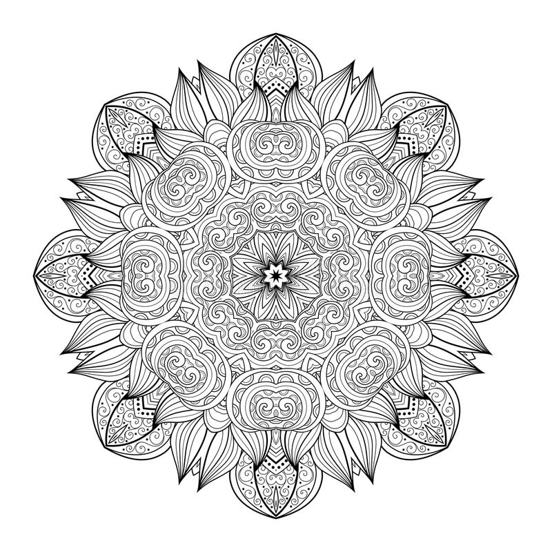 Мандала контура Deco вектора красивая Monochrome иллюстрация штока