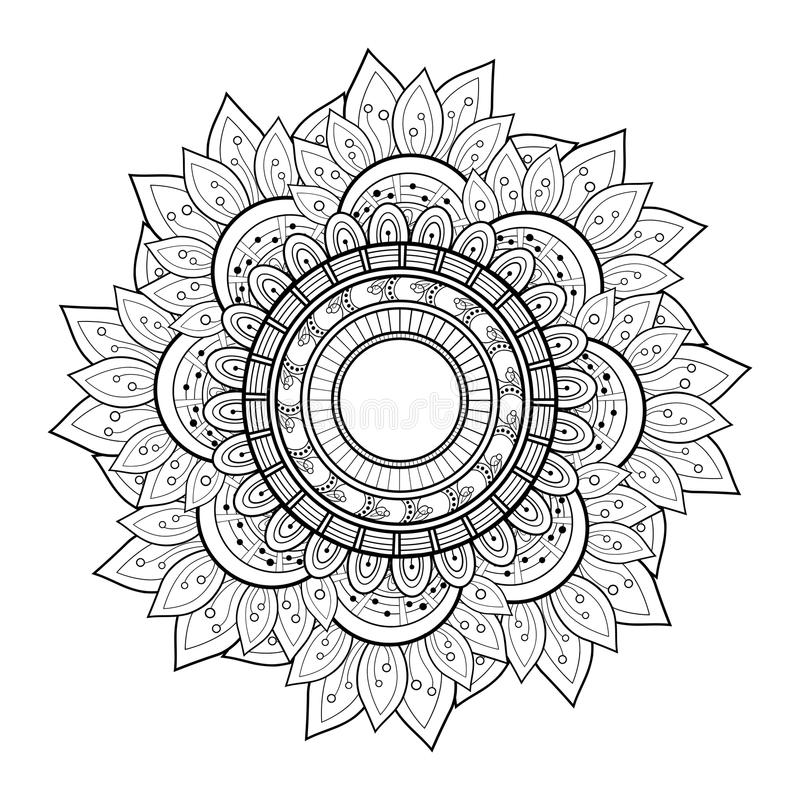 Мандала контура Deco вектора красивая Monochrome иллюстрация вектора