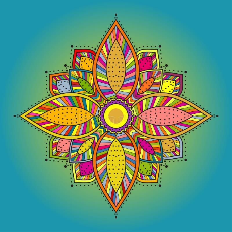 Мандала. Красивой цветок нарисованный рукой. бесплатная иллюстрация