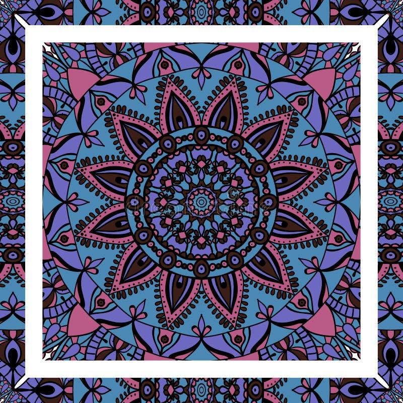 мандала Красочный этнический круглый орнамент мир вектора искусства светлый иллюстрация штока