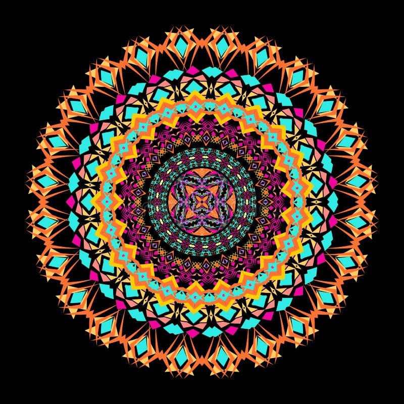 Мандала мозаики вектора красочная Красивый элемент дизайна в этническом стиле Индийский, племенной, восточный орнамент иллюстрация вектора
