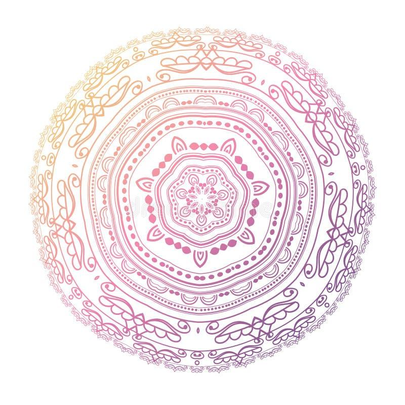 мандала Объезжайте картину в цветах света - розовых, фиолетовых и голубых иллюстрация вектора