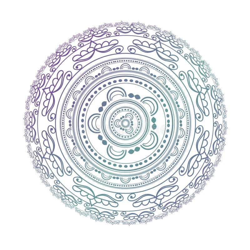 мандала Объезжайте картину в цветах света - розовых, фиолетовых и голубых иллюстрация штока