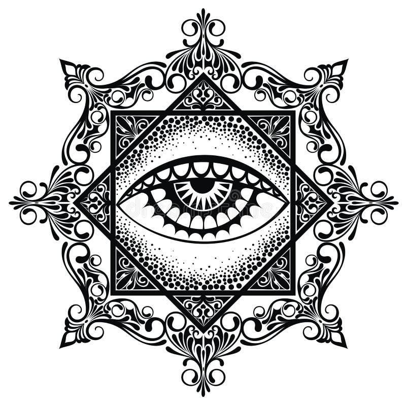 Мандала пирамиды глаза иллюстрация вектора