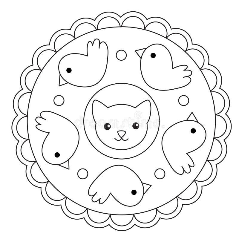 Мандала птицы и кота расцветки иллюстрация вектора