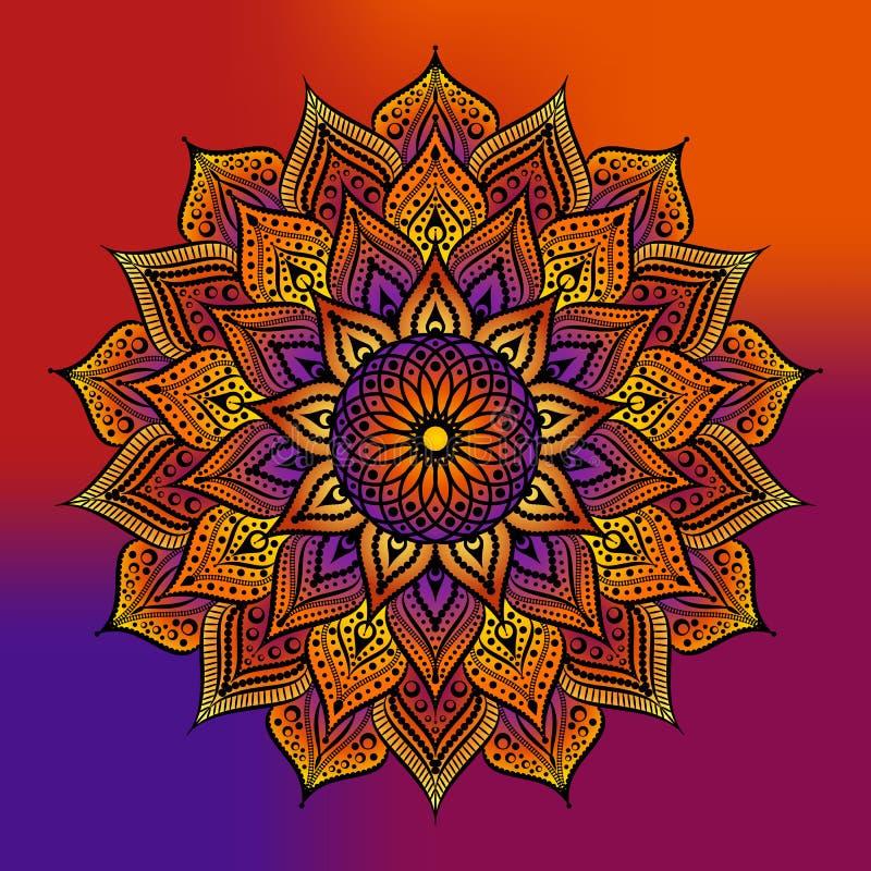Мандала плана декоративный орнамент круглый Элемент дизайна Weave Логотип йоги иллюстрация вектора