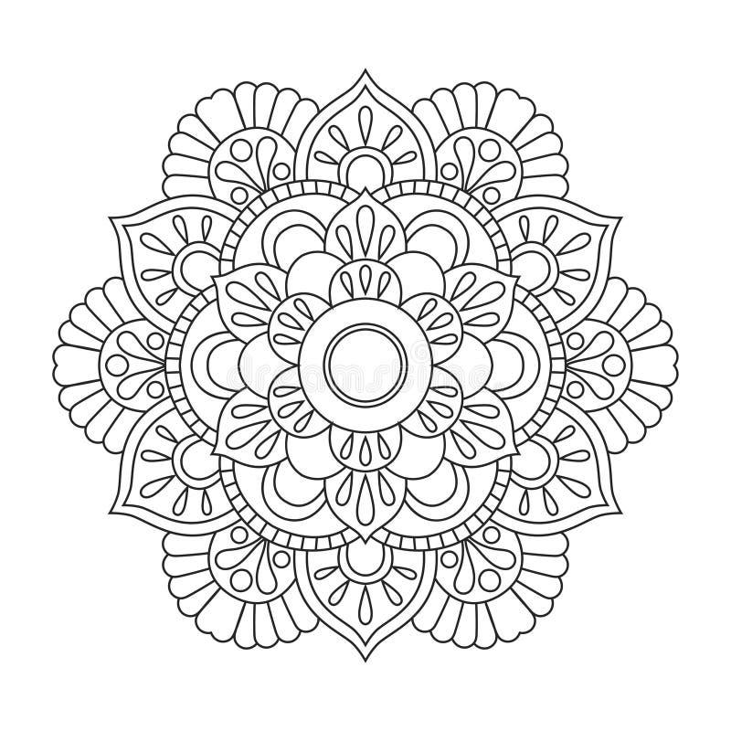 Мандала плана для книжка-раскраски картина терапией Анти--стресса декоративный орнамент круглый голубой вектор неба радуги изобра иллюстрация штока