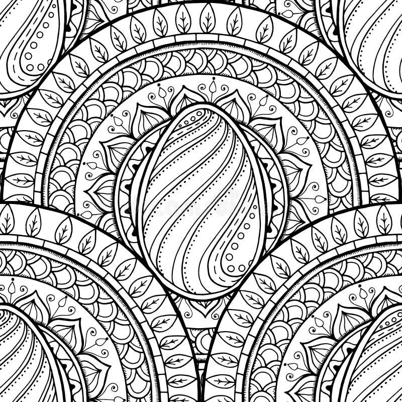 Мандала темы пасхи с яичком doodle Этнический цветочный узор Черно-белый дизайн Предпосылка Пейсли хны племенная безшовная иллюстрация вектора