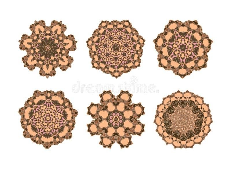 Мандала установленная в коричневый цвет иллюстрация вектора
