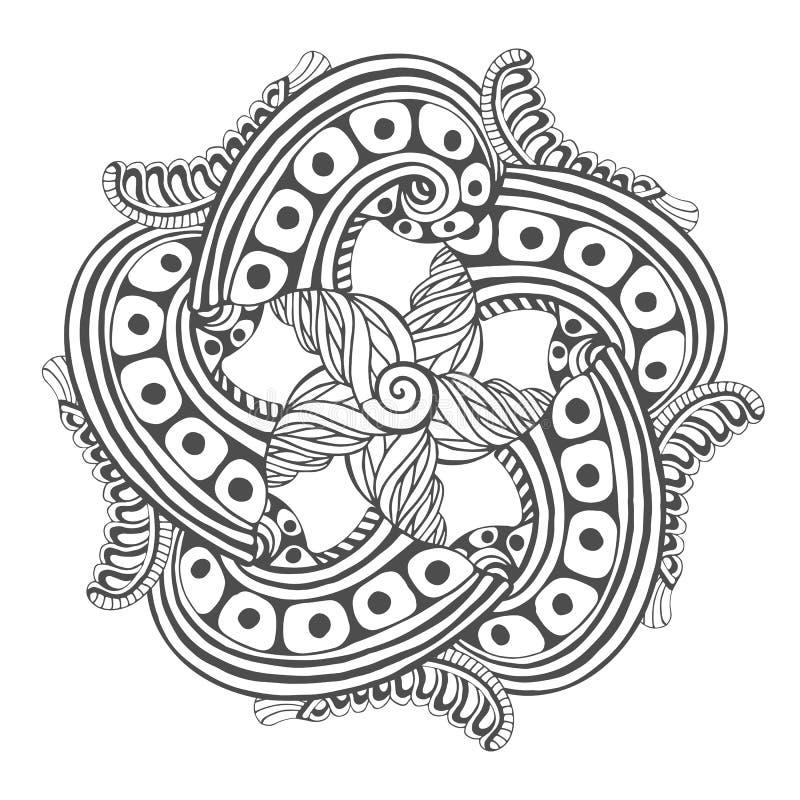 Мандала для страниц книжка-раскраски Картина орнамента вектора для дизайна татуировки иллюстрация штока