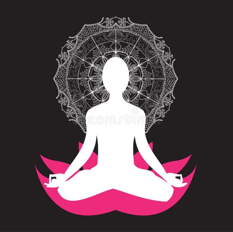 Мандала asana раздумья йоги иллюстрация вектора