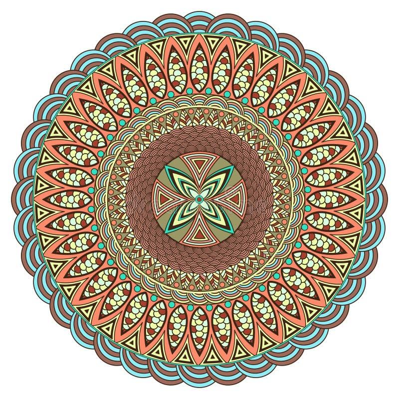 Мандала multicolor Стиль Boho, украшения hippie Круглая картина орнамента декоративный сбор винограда элементов Картина Оriental иллюстрация штока