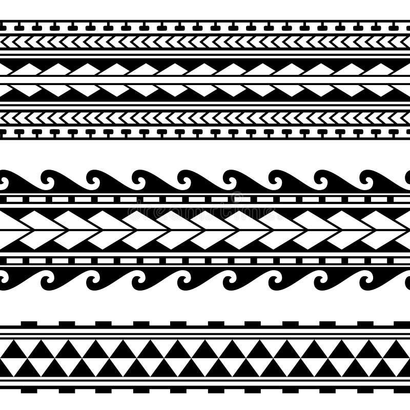 Маорийская полинезийская граница татуировки Вектор картины племенного рукава безшовный иллюстрация штока