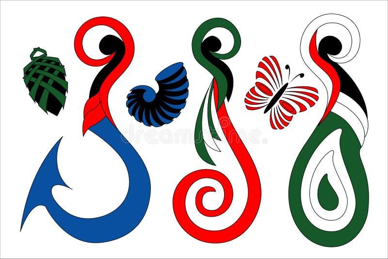 Маорийский крюк дизайна цвета Koru и простые значки иллюстрация вектора