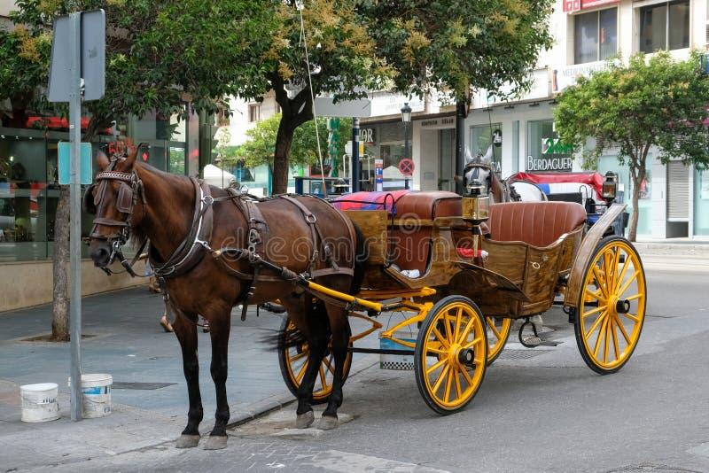 МАРБЕЛЬЯ, ANDALUCIA/SPAIN - 6-ОЕ ИЮЛЯ: Лошадь и экипаж в Marbe стоковая фотография