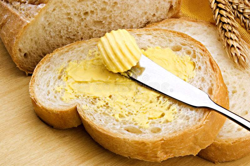 маргарин хлеба стоковое изображение rf