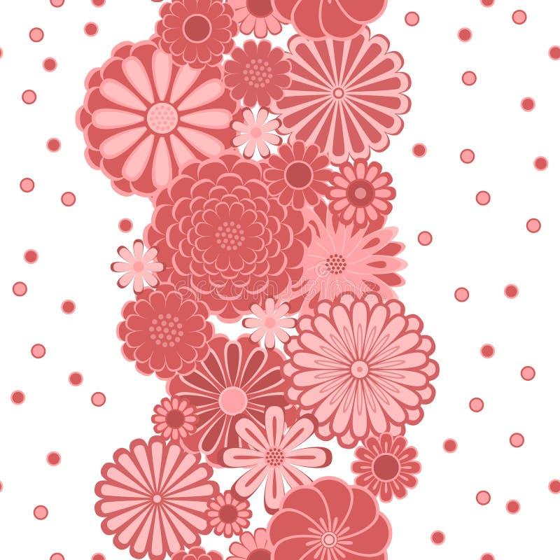 Маргаритка круга пастельного пинка цветет на белой безшовной границе, векторе бесплатная иллюстрация