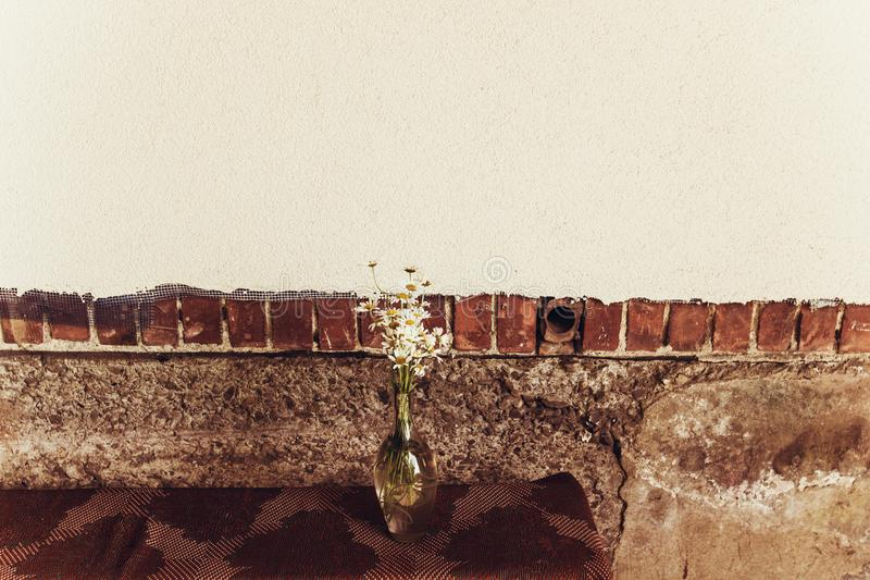 Маргаритка цветет в стеклянной вазе на деревянной скамье около деревенского дома внутри стоковые фото