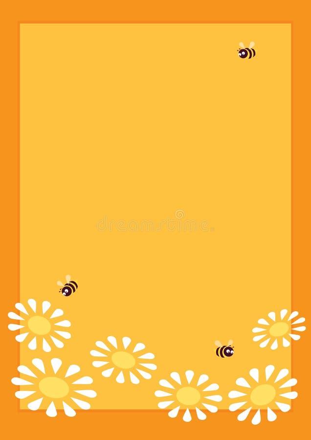 Маргаритки пчел рамки a4 иллюстрация штока