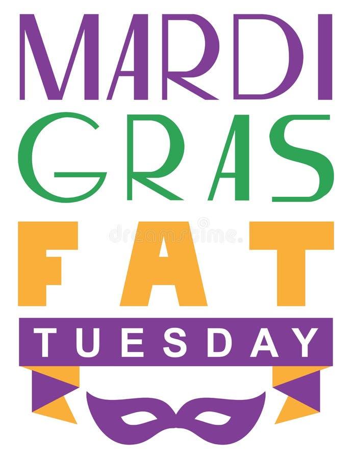Марди Гра жирный вторник помечая буквами поздравительную открытку текста иллюстрация штока