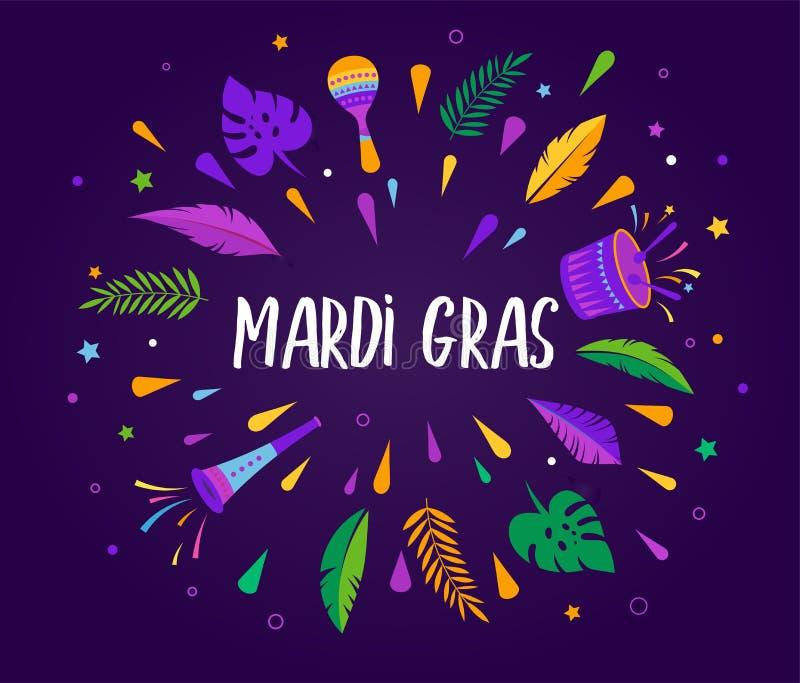 Марди Гра - жирный шаблон торжества масленицы вторника иллюстрация вектора
