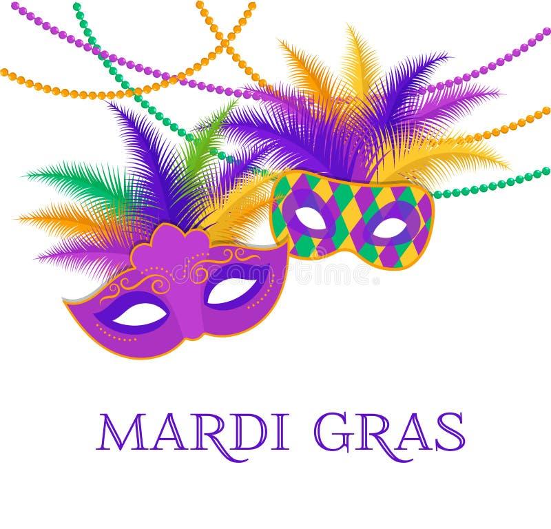 Марди Гра - жирный шаблон торжества масленицы вторника бесплатная иллюстрация