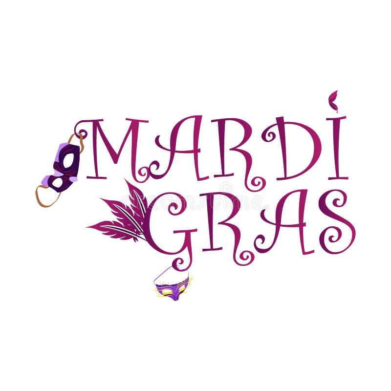 Марди Гра надписи, с изображением маск масленицы стоковые изображения