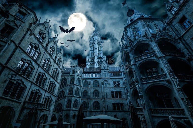 Мариенплац ночью, Мюнхен, Германия стоковая фотография rf