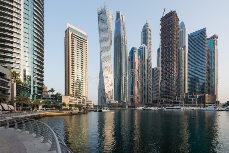 Марина в утре, ОАЭ Дубай стоковая фотография