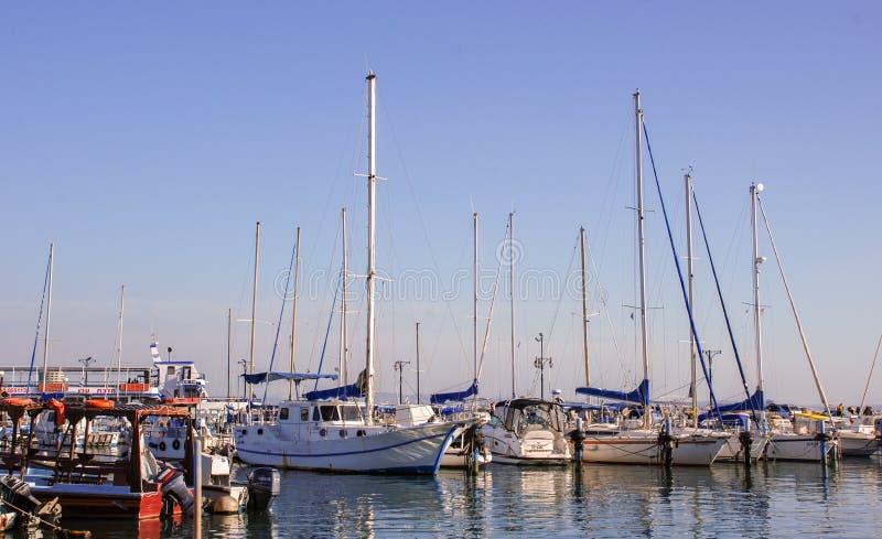 Марина и рыбный порт акра, Израиль стоковые фото