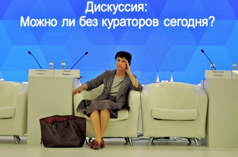 Марина Devovna Loshak, директор музея изящных искусств названный после Pushkin в Москве стоковое изображение