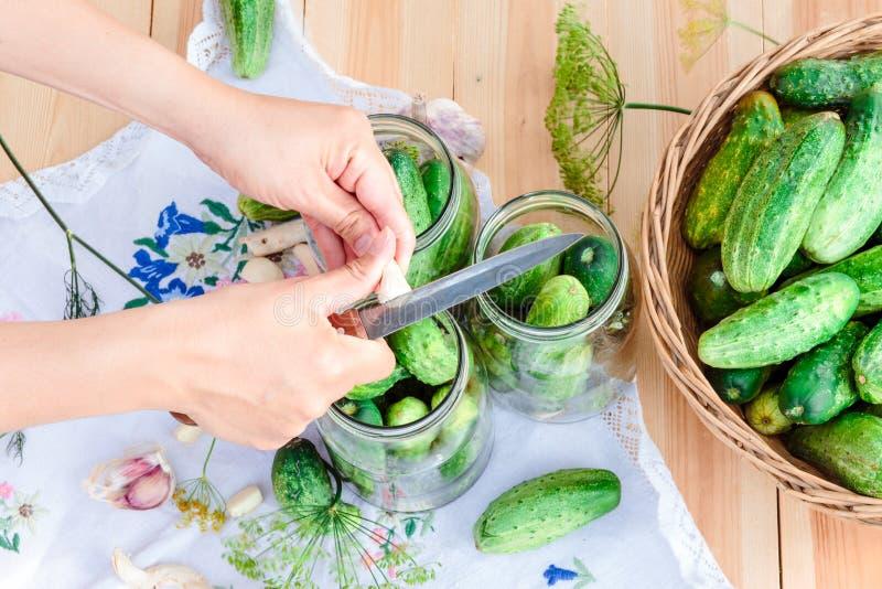 Маринуя огурцы с домашними овощами сада стоковое изображение