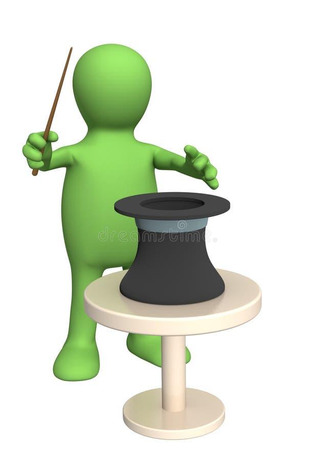 марионетка фокусника 3d иллюстрация вектора