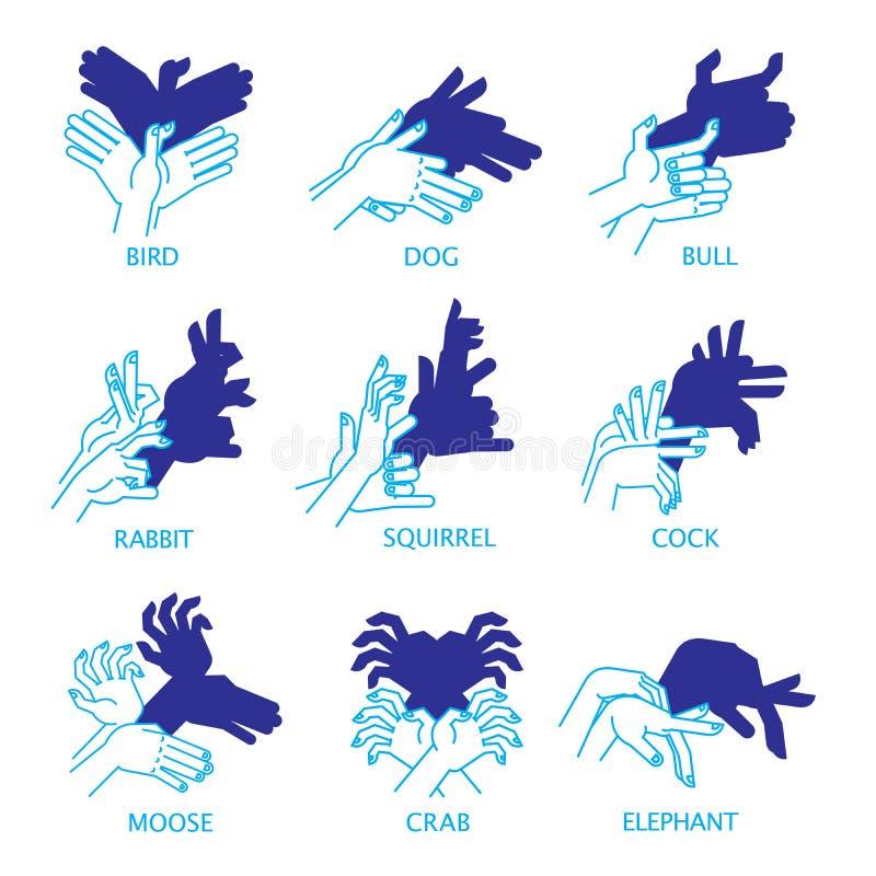 Марионетки руки тени на белой предпосылке для вашего дизайна Театр тени или игра тени Комплект Птица, собака, бык бесплатная иллюстрация