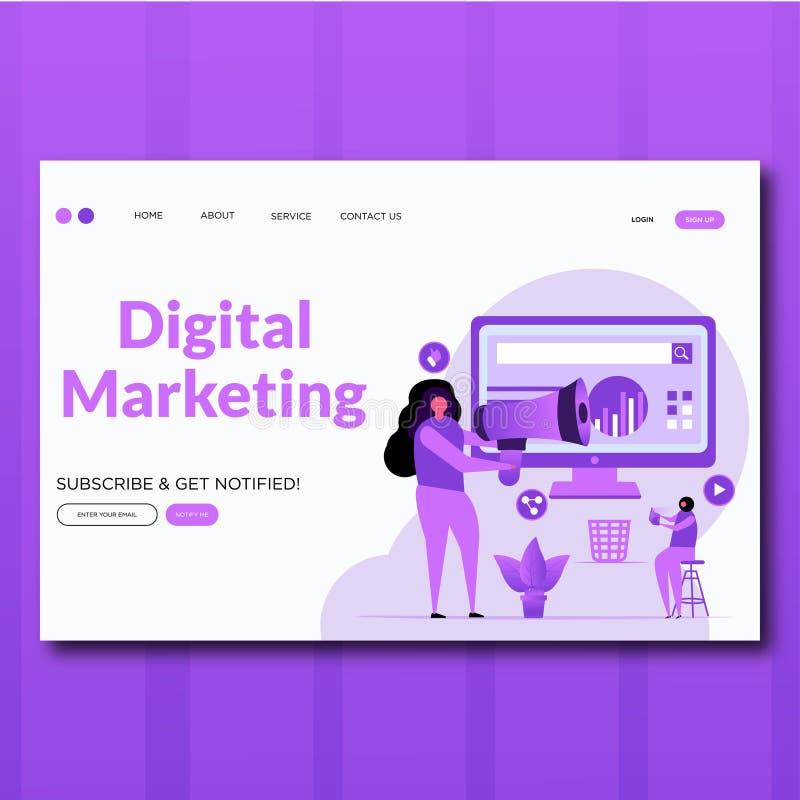 Маркетинга цифров стиля вектора маркетинга цифров иллюстрация страни иллюстрация вектора