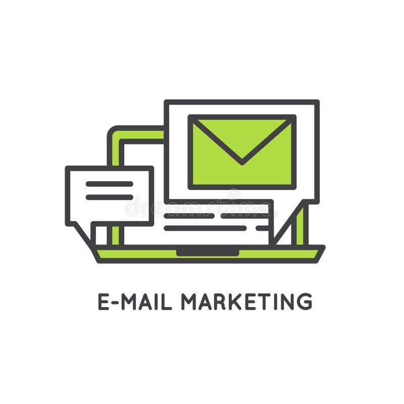 Маркетинг интернета и электронной почты иллюстрация штока