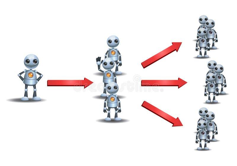 Маркетинг маленьких роботов multi ровный иллюстрация вектора