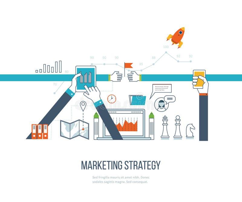 Маркетинг маркетинговой стратегии и содержания Управление инвестициями Тонкая линия дизайн бесплатная иллюстрация