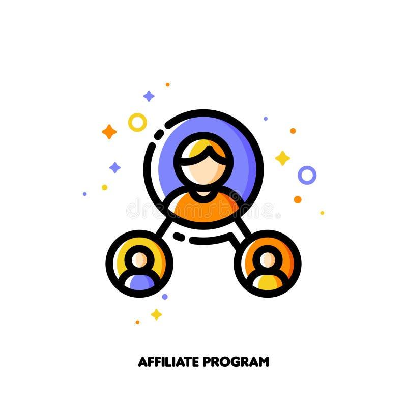 Маркетинг присоединенного филиала, программа партнером или сеть направлений иллюстрация штока