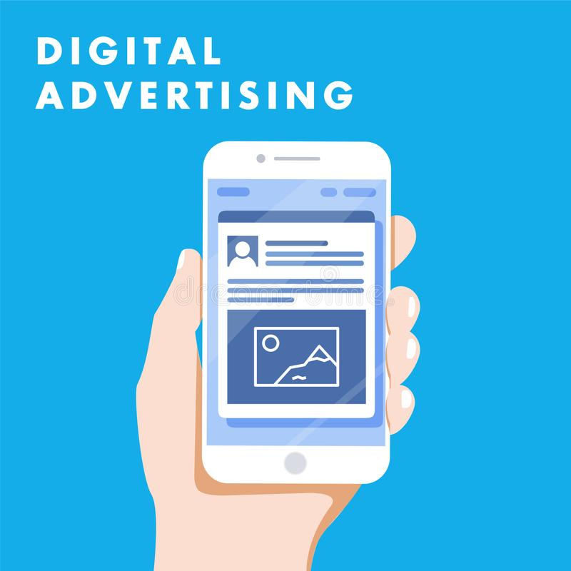 Маркетинг социальных средств массовой информации объявлений рекламы цифров онлайн Концепция иллюстрации иллюстрация вектора
