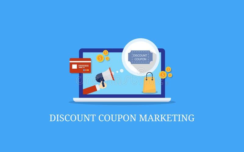 Маркетинг талона скидки, продвижение продукта ecommerce, плоская концепция знамени вектора дизайна бесплатная иллюстрация