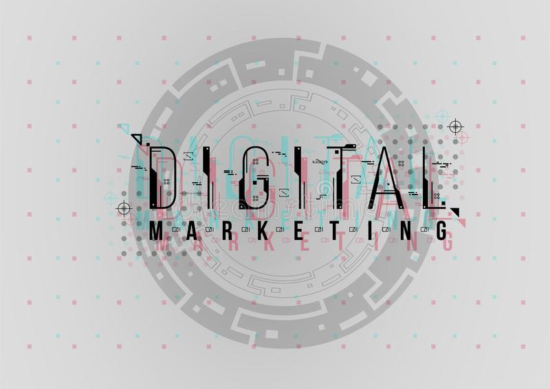 Маркетинг цифров Схематический план с элементами HUD для печати и сети Литерность с футуристическим пользовательским интерфейсом стоковые фотографии rf