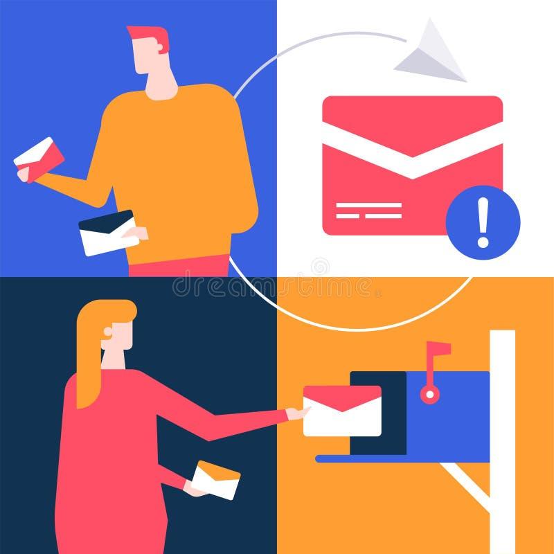 Маркетинг электронной почты - иллюстрация плоского стиля дизайна красочная бесплатная иллюстрация