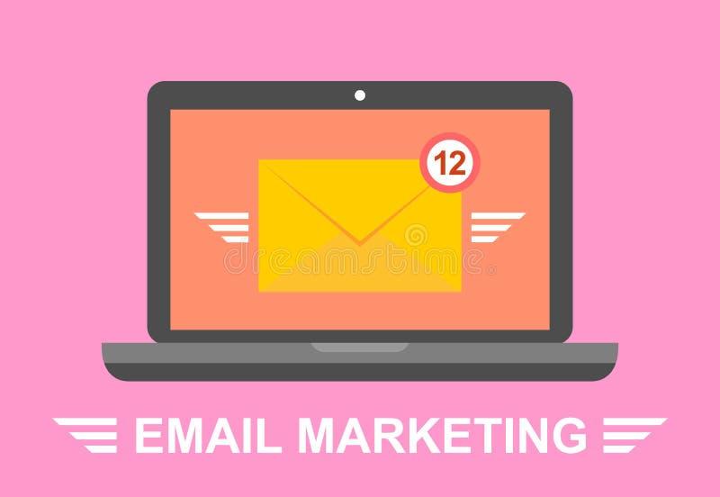 Маркетинг электронной почты Компьтер-книжка с конвертом на экране Электронная почта, e-маркетинг, реклама интернета Плоский векто иллюстрация вектора