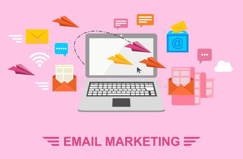 Маркетинг электронной почты Пошлите письма электронной почтой Письмо в конверте, самолете бумаги, компьтер-книжке и Wi-Fi Иллюстр иллюстрация вектора