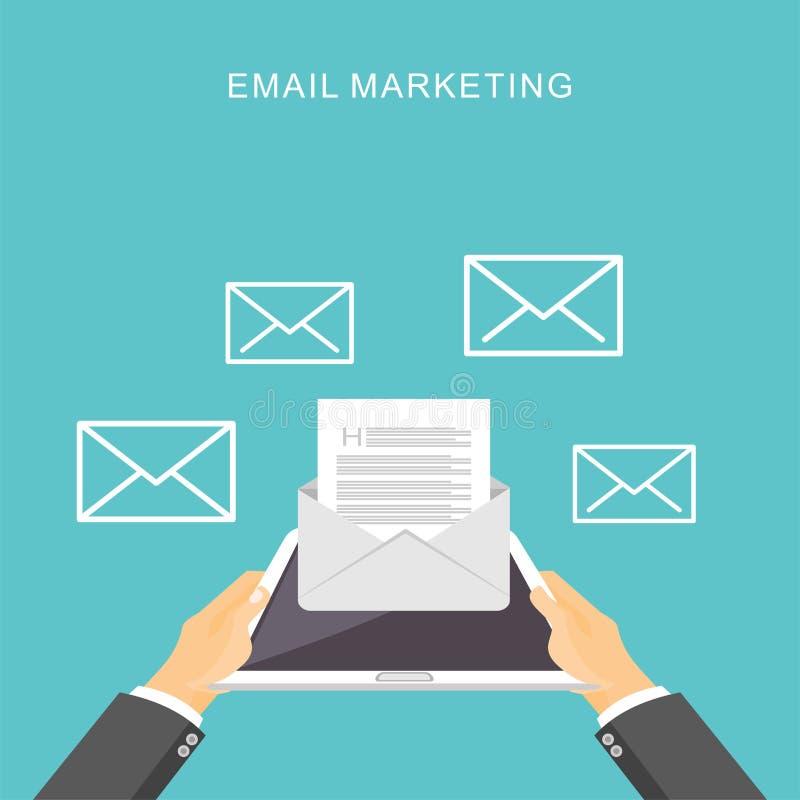 Маркетинг электронной почты Иллюстрация рекламы электронной почты дела для знамени сети, элемента сети или элемента дизайна иллюстрация вектора