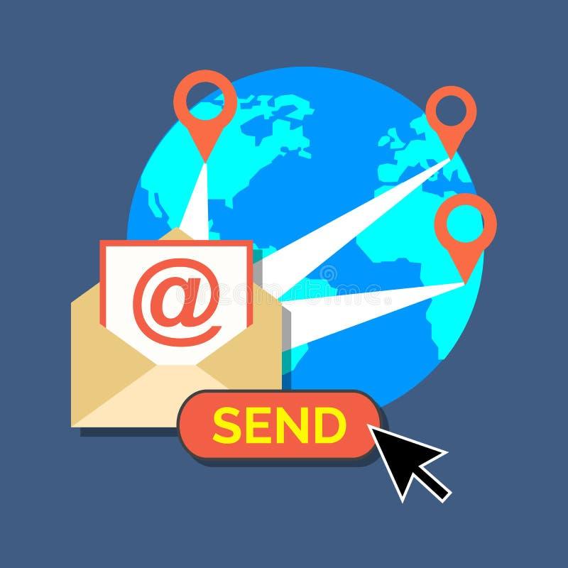 Маркетинг электронной почты, концепция информационого бюллетеня Плоский дизайн стильный иллюстрация штока